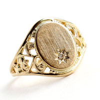 Vintage 10K Yellow & Diamond Signet Ring - Filigree Knuckle Midi Baby Size 2 Initital Monogram Victorian Revival Fine Jewelry / Shining Star