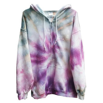 SALE Tie Dye Sweatshirt Hoodie Adult XL Womens Gift For Her Clothes Fall Hooded Sweater Fleece Pink Purple Grey Galaxy Plum Tumblr Casual
