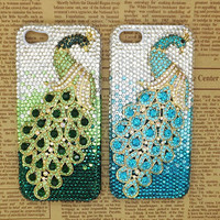 Handmade Bling sparkle diamond crystal pearl Rhinestone  iPhone 5s 5c 5 6 6 plus case cover samsung case super bling green blue peacock