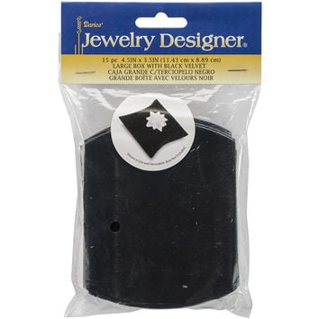 "Self-Folding Jewelry Boxes 4.5""""X3.5"""" 15/Pkg-Black Velvet"