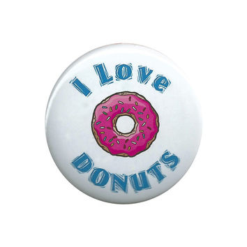 I Love Donuts Pinback Button Badge Pin 44mm 1.75""