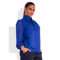 2 color Autumn winter Women long sleeve blue chiffon blouse solid long sleeve casual streetwear women shirt top plus size  6xl