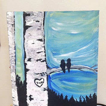PERSONALIZED BIRCH love birds original acrylic painting 2 sizes customized