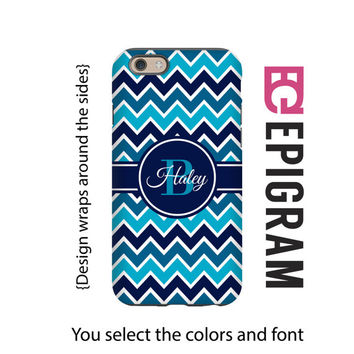 Blue Ombre Chevron Monogram iPhone case, chevron iPhone 6s case, iPhone 6s plus case, 3D iPhone case, tough iPhone case, custom iPhone case