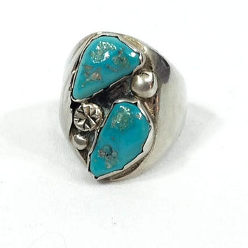Native American Turquoise Men's Ring, Large Turquoise Nuggets, Sterling Silver Feather Motif, Size 12, Vintage Navajo Southwestern Jewelry