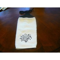 Embroidered Black Dalmatian Hanging Dish Towel With Hand Knit Topper