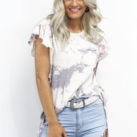Go Getter Cream & Gray Tie-Dye Top