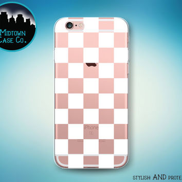 Checkerboard Pattern White Checker Check Squares Transparent Clear Rubber Case for iPhone 7 Plus 7 iPhone 6s 6 Plus iPhone SE iPhone 5s 5 5c