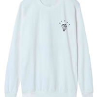 White Diamond Printed Sweatshirt