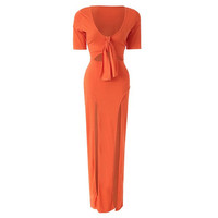 Orange Double Slit Plunging Side Maxi Dress