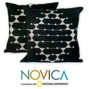 Set of 2 Cotton 'Starlit Galaxy' Cushion Covers (India)   Overstock.com