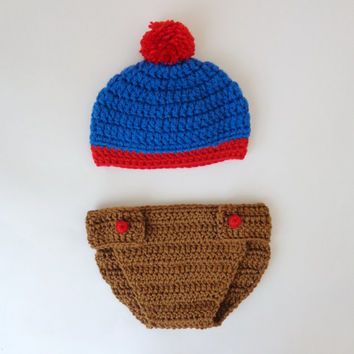 South Park Hat And Diaper Cover -Eric Cartman, Stan Marsh, Kyle Broflovski, Craig Tucker - Newborn to Adult Halloween / Cosplay/ Baby Shower