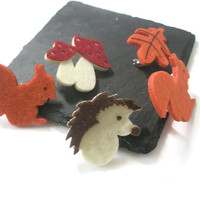 Handmade Felt woodland brooches Hedgehog Squirrel Toadstool Leaf Fall jewellery