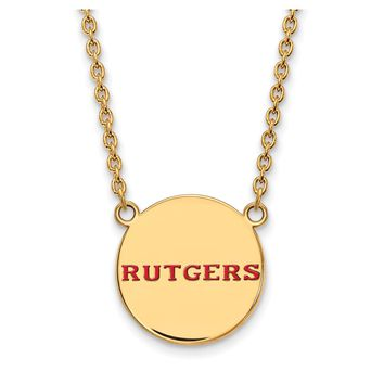 NCAA 14k Gold Plated Silver Rutgers Large Enamel Disc Necklace