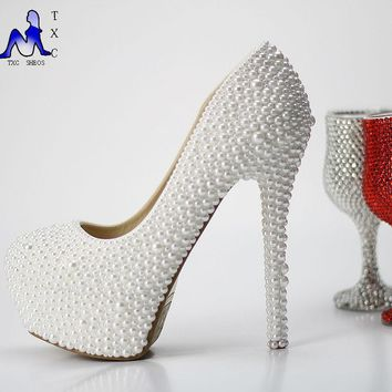 White pearl wedding shoes Pearl bridal shoes Elegant pearl heels Evening party shoes prom high heel 12cm/14cm fashion
