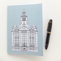 Liverpool Journal, Blue Journal, Recycled Notebook, Recycled Journal, Blank Journal, Travel Journal, Liver Building Journal