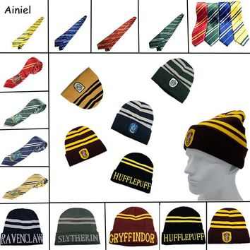 Cool Ainiel 10 PCS LOT Harri Potter Hats Ties Gryffindor Slytherin Hufflepuff Ravenclaw Cap Cosplay Costumes Hermione Men Women BoysAT_93_12