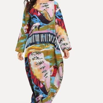 Graphic Print Hidden Pocket Longline Dress