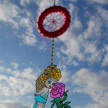 Rose Angel Dreamcatcher - Nursery Mobile - Glass Painted Angel Dream Catcher - Hanging Baby Room Decoration - Suncatcher Mobile
