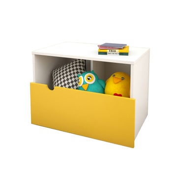 Toko Mobile Nightstand/Bench - White/Yellow