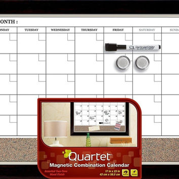 Quartet Magnetic Combination Calendar Board Dry-Erase and Cork 17 x 23 Inches...