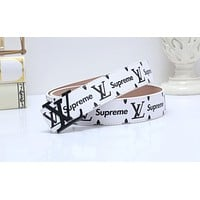 Lv x Supreme Hot Selling Fashion Colors with Men's and Women's Belts White Belt + Black