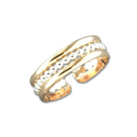 Stacked Bead Adjustable Toe Ring - Gold Mix