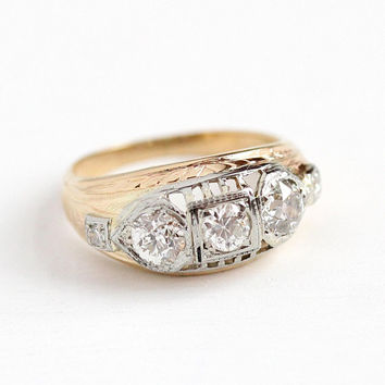 Vintage Diamond Ring - 1920s 14k Yellow & White Gold .98 CTW Anniversary Band - Art Deco Size 6 Engagement Wedding Five Stone Fine Jewelry