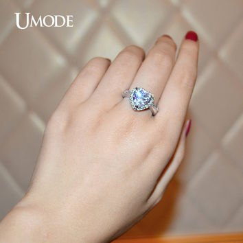 UMODE Brand Halo Engagement Rings 4ct Heart-Shaped Center Stone CZ Crystal Ring For Women White Gold Color Bijoux Jewelry UR0223