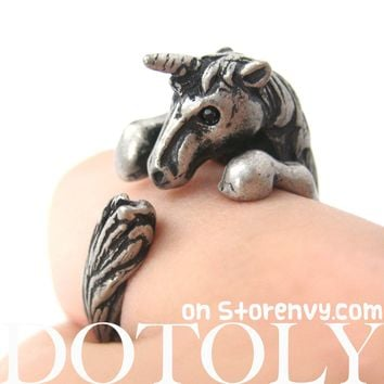 Unicorn Horse Detailed Animal Wrap Around Ring in Silver - Size 5 to 9