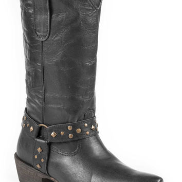 Roper Ladies Fashion Snip Toe Boots 12 Harness Boot W Studded Harness