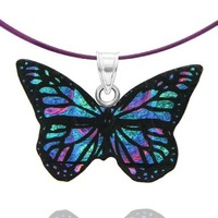 """Sterling Silver Dichroic Glass Green and Purple Butterfly Pendant Necklace on Stainless Steel Wire, 18"""""""