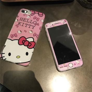 Rlenda 3D Edge Screen Protector Tempered Glass Film Protective cover+Cartoon TPU phone case Hello Kitty for iphone 6 6s plus 7 8