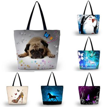 "Dog Cat Large Shoulder Tote Bag Handbag Canvas Shopping Beach Grocery, 13""x17"""