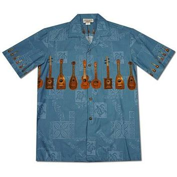 Ukulele Melody Blue Hawaiian Border Aloha Shirt