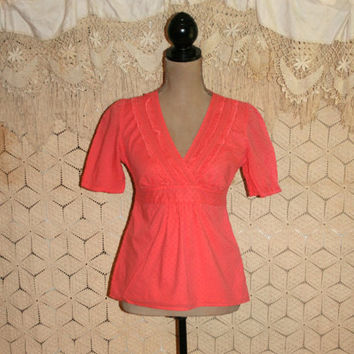 Boho Peasant Top Cotton Short Sleeve Casual Top Spring Summer Top High Waist Orange Swiss Dot Ann Taylor Size 2/4 XS Small Womens Clothing
