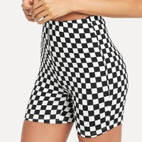 Checked Print Short Leggings
