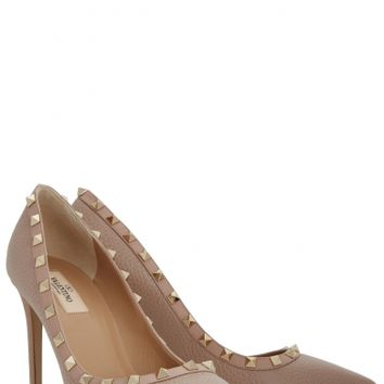 Valentino Rockstud 100 grained leather pumps