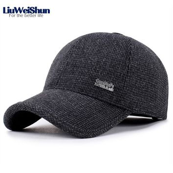 Trendy Winter Jacket 2018 Winter New Small Plaid Thicken Baseball Cap Hats,Elder Men Winter Warm Dad Hat With Earflaps,Father Gift Felt Baseball Cap AT_92_12