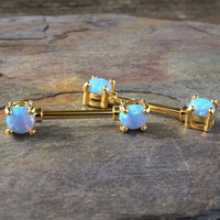 Light Blue Opal Gold Nipple Bar Jewelry Barbell