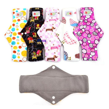 5pcs/Lot , Heavy Flow Bamboo charcoal Cloth Menstrual Pad Sanitary Napkin, Breathable Reusable Washable cloth maternity pad = 1946990724