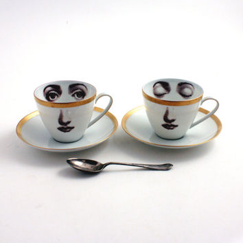 Set of 2 Altered Porcelain Coffee Espresso Cups Eye Woman Awake Asleep Coffeecups with Saucers Face Vintage White Brown Romantic whimsical
