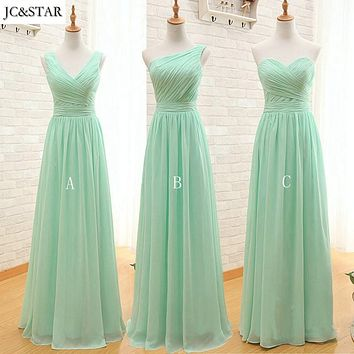 JC&STAR Custom Color Mint Green Navy Blue Long Chiffon A Line Pleated Bridesmaid Dress 2017 cheap bridesmaid dresses under 50