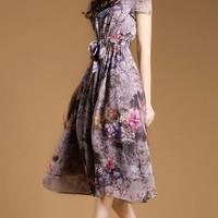 Purple Lace Up Floral Print Pleated Chiffon Flared Dress