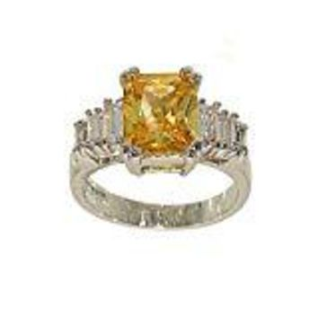 Emerald Cut Bright Yellow Center Silvertone CZ Fashion Ring with Graduated Clear Bagettes