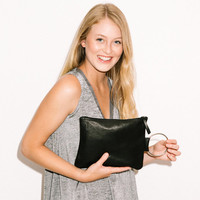 Black Leather clutch - Small leather purse - Black Leather wristlet - Evening purse - Metal ring in Nickel color - Matte black