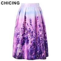 CHICING Women Floral Midi Skirts Plus Size XXL 2016 Purple Lavender Printed High Waist Pleated Skater Flared Skirt Saia A1601022