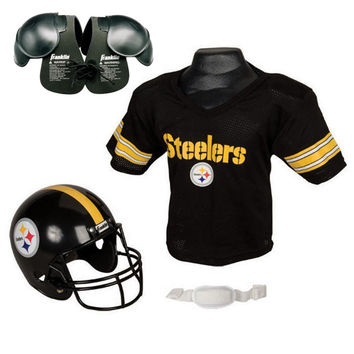 Pittsburgh Steelers Youth NFL Helmet and Jersey SET with Shoulder Pads