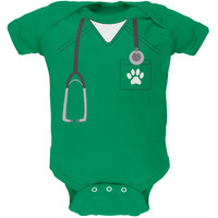 Halloween Vet Veterinarian Scrubs Costume Kelly Green Soft Baby One Piece