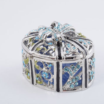 Silver with Blue Flowers Faberge Style Trinket Box Handmade by Keren Kopal Decorated with Swarovski Crystals